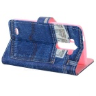 Flip Open PU Leather + TPU Case for LG G3 - Blue + Pink + Multi-Color