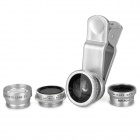 Universal 5-in-1 Clip-On Fish Eye + Wide Angle + Macro + Telephoto + CPL Lens Set - Silver