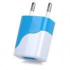 ART-036 DC 5V / 1A USB Output Power Adapter Charger for Cellphone - White + Blue (EU Plug)