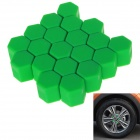 17# Silicone Car Wheel Hub Hex Screw Decoration Cover - Green (20PCS)