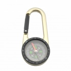 Outdoor Camping Mountaineering Stainless Steel Compass w/ Carabiner - Silver + Black