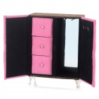 A02-392-1 Creative Wardrobe Shaped Cosmetic Storage Box - Pink + Gold