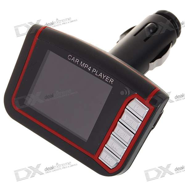"1.7"" LCD Car MP3/MP4 Player FM Transmitter with IR Remote Controller - Red (SD/Mini USB)"