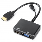 1-to-2 MHL to HDMI & VGA Adapter Cable - Black (21cm)