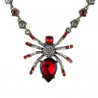 Women's Stylish Rhinestones Decorated Spider Pendant Necklace - Red + Silvery Grey
