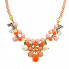 Fashion Women's Flower Style Pendant Chunky Necklace - Golden + Multicolored