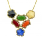 Stylish Women's Colorful Different Shaped Crystal Pendant Necklace - Golden + Multicolored