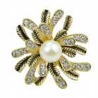 Fashion Women's Flowers + Pearl Style Decorated Alloy Ring - Golden + White (US Size 7)