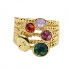 Fashion Women's Multi-layer Gold-plated Alloy Shining Crystal Decorated Ring - Golden (US Size 7)