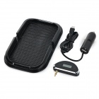 "0.8"" LCD FM Transmitter w/ Car Charger + PVC Anti-Slip Mat Holder for Cellphone - Black (DC 12V)"