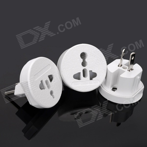 3-in-1 Travel EU + UK + US + AC Power Adapter Kit - White