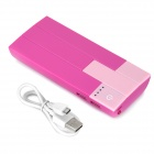 Piano touches style 10000mAh power bank w / double USB - rose foncé