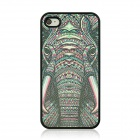 Elephant Pattern Protective PC Back Case for IPHONE 4 / 4S - Black + Multicolored