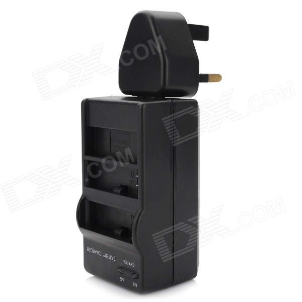 batterilader + UK plug strømadapter for gopro hero 4 - svart