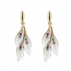 Women's Hanging Leaf Shaped Rhinestone Inlaid Earrings - White + Golden (Pair)