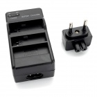Dual-Slot Battery Charger + EU Plug Power Adapter for GoPro Hero 4 - Black