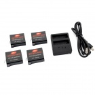 Dual-Slot Battery Charger + 4 x 3.8V 1680mAh Batteries + USB Charging Cable for GoPro Hero 4
