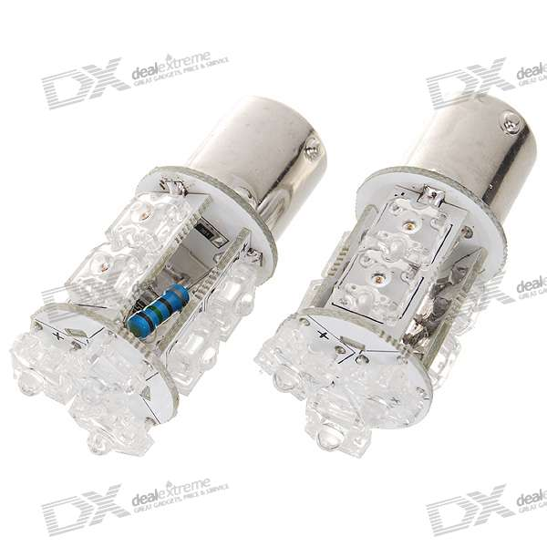D1109 1.5W 48-Lumen 9-LED Car Red Light Bulbs (Pair/DC 12/24V)