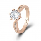 KCCHSTAR Luxurious Gold-plated Ring w/ Artificial Diamond - Golden + Silvery (US Size 8)