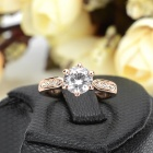 KCCHSTAR Artificial Diamond Ring - Golden (US Size 8)