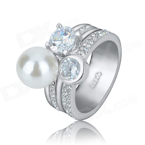 KCCHSTAR Women's Pearl Artificial Diamond Ring - Silver (US Size 8)
