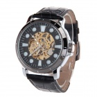 HY-013 Trendy Men's PU Leather Strap Zinc Alloy Case Analog Auto Mechanical Watch - Black + Silver