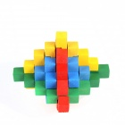 Colorful Wooden Puzzle Pyramid Unlock Toy - Red + yellow + blue