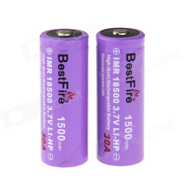 BestFire Rechargeable 3.7V 1200mAh er IMR 18500 Lithium-Ion Battery - Purple (2 PCS)