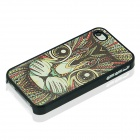 Cat Pattern Protective Case for IPHONE 4 / 4S - Black + Multicolored
