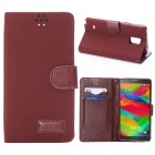 Protective Flip-Open PU Leather Case w/ Card Slot + Stand for Samsung Galaxy Note 4 - Red Brown