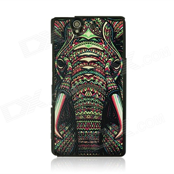 Hard PC Back Case Cover for Sony Xperia Z L36h - Black + Multicolored