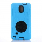 Shockproof Anti-dust TPU Back Case Cover Armor w/ Clip for Samsung Note 4 N910 - Blue + Black