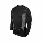 Men's PRO Tight-Fit Quick-Dry Sports Training Fitness Long Sleeves T-shirt Jersey Top - Black (M)