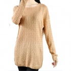 Women's Stylish Round Neck Long-Sleeve Knitted Sweater Pullover - Gold (M)