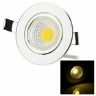 3W COB LED Ceiling Lamp Warm White 3000K 160lm - Silver + Transparent (AC 85~265V)