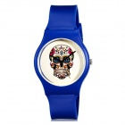 K78 Fashionable Skull Pattern Resin Band Analog Quartz Wrist Watch - Blue (1 x 626)