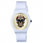 K78 Fashionable Skull Pattern Resin Band Analog Quartz Wrist Watch - White (1 x 626)