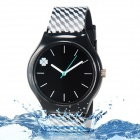 Four Leaf Clover Pattern Resin Band Analog Quartz Wrist Watch - Black (1 x 626)