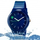 Four Leaf Clover Dial Water Resistant Strip Resin Band Analog Wrist Watch - Deep Blue (1 x 626)