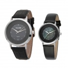 VILAM V005 PU Band Analog Quartz Wrist Watches for Lovers & Couple - Black + Silver (1 x 626 / Pair)