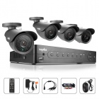 SANNCE 4CH 960H DVR System w/ 4 x 800TVL Waterproof Outdoor Day / Night Bullet Cameras (US Plug)