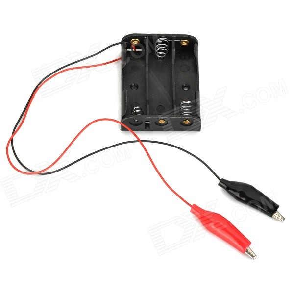 DIY 3 x AA 3,6 ~ 4.5 v Bateria Power Box w / jacaré - preto