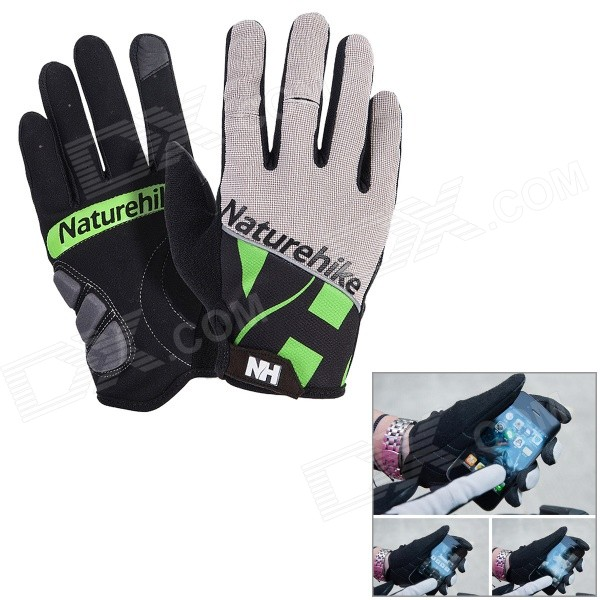 NatureHike Touch Screen Cycling Gloves - Green + Black (XL / Pair)