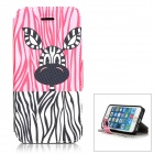 Cute Giraffe Pattern PU Leather Case w/ Holder for IPHONE 5S - Pink + Black + Multicolored