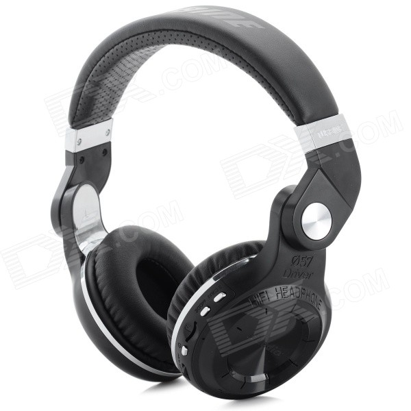 Bluedio T2+ Bluetooth V4.1 Rotatable HiFi Headphone w/ TF / FM - BlackHeadphones<br>Form  ColorBlack + SilverModelT2+MaterialABS plastic + electronic componentsQuantity1 DX.PCM.Model.AttributeModel.UnitShade Of ColorBlackEar CouplingHeadbandBluetooth VersionOthers,Bluetooth V4.1Operating Range10MRadio TunerYesMicrophoneYesSupports MusicYesConnects Two Phones SimultaneouslyYesApplicable ProductsIPHONE 5,IPHONE 4,IPHONE 4S,IPHONE 3G,IPHONE 3GS,IPOD,IPAD,Universal,Tablet PC,IPHONE 5S,IPHONE 5CBuilt-in Battery Capacity 650 DX.PCM.Model.AttributeModel.UnitBattery TypeLi-polymer batteryTalk Time45 DX.PCM.Model.AttributeModel.UnitMusic Play Time40Standby Time1625 DX.PCM.Model.AttributeModel.UnitPower AdapterOthers,USBPower Supply5VOther FeaturesSupports TF card up to 32GBPacking List1 x Bluetooth headphones1 x USB charging cable (99cm)1 x Audio cable (164cm)1 x English / Chinese / Spanish / French / German / Japanese user manual<br>