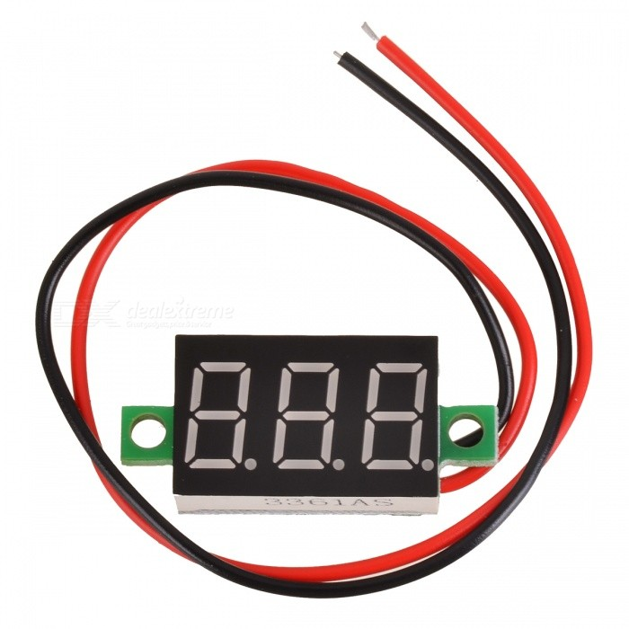 "DIY 2.7~32V 3-Digit 0.36"" LCD Green LED Voltmeter Module - Black"