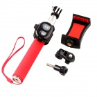 TOZ Bluetooth V3.0 Selfie Monopod w/ Rearview Mirror, Holder - Red