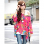 Tail-Spreading Peacock Pattern Chiffon Loose Shirt for Women - Red + Multicolored (M)