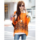 Trendy Bohemian Style Hainan Scenery Pattern Casual Shirt Top - Orange Yellow (M)