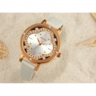 VILAM V1013L Women's Crystal Flower PU Band Quartz Watch - White
